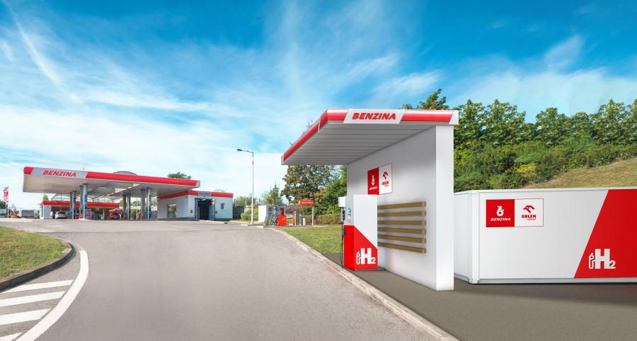 Stojan s vodíkem na čerpací stanici Benzina