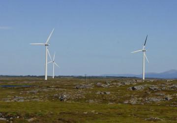 Větrná elektrárna se speciálně nabarvenou lopatkou turbíny