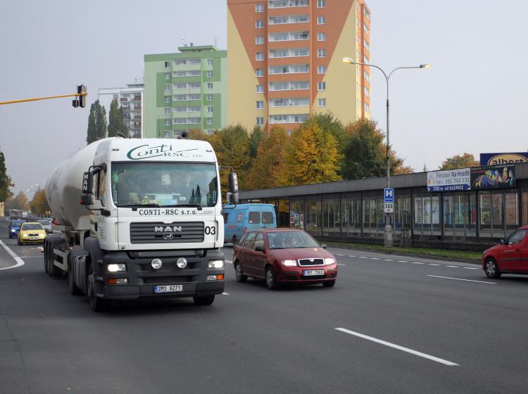 Kamion v Olomouci