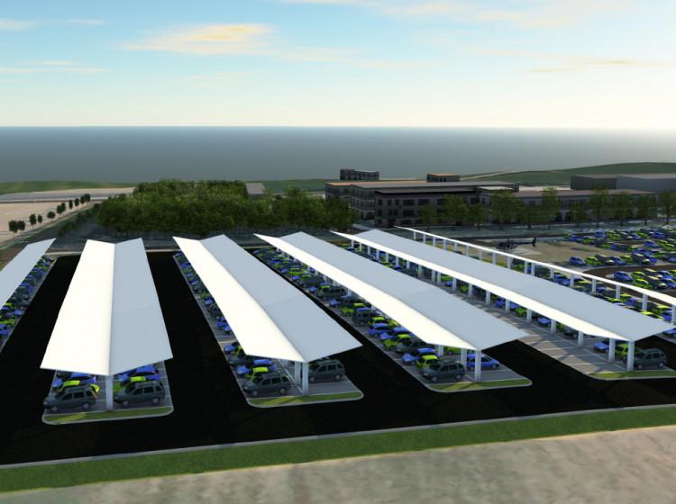 Parkoviště se solárními panely u Dukovanské jaderné elektrárny